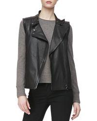 J Brand Madisyn Leather Vest Black Xsmall0 - Lyst