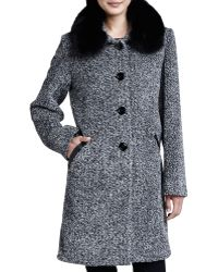 Sofia Cashmere Tweed Button-Front Fur Collar Coat gray - Lyst