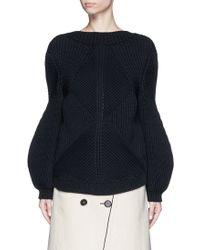Victoria Beckham | Oversize Sleeve Rib Knit Sweater | Lyst