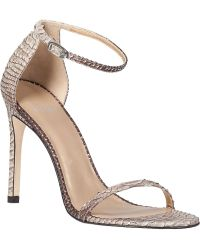 Stuart Weitzman Nudistsong Ankle Strap Sandal Taupe Snake - Lyst