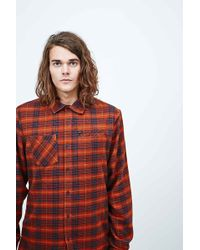 RVCA - Bazz Thunder Plaid Shirt In Orange - Lyst
