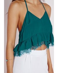 Missguided - Cropped Peplum T Bar Cami Teal - Lyst