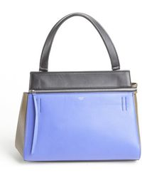 Celine Indigo Colorblock Calfskin Top Handle Bag - Lyst