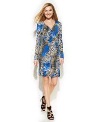 Calvin Klein Animal-print Faux-wrap Dress - Lyst