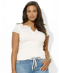 Lauren by Ralph Lauren Plus Eyelet Cotton Top - Lyst