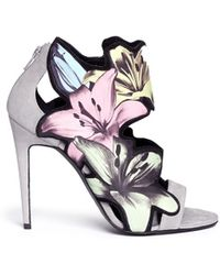Pierre Hardy Lily Print Suede Sandals - Lyst
