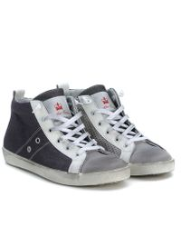 Leather Crown Mittelhohe-Sneakers-Von-Leather-Crown-Aus-Gummiertem-Canvas-In-Grau gray - Lyst