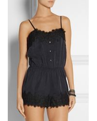 Finds  Stone Cold Fox Lansing Lace-trimmed Sandwashed-twill Playsuit - Lyst