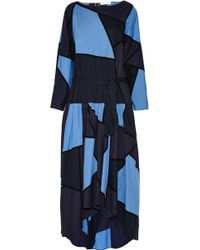 Chloé Patchwork Cotton and Stretch Wool-blend Dress - Lyst