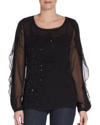 Elie Tahari Embellished Silk Blouse - Lyst