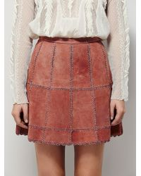 Free People | Womens Piece Out Suede Mini Skirt | Lyst