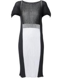 Issey Miyake Ribbed Knit Dress black - Lyst