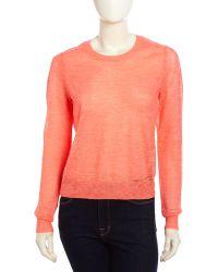 Halston Heritage Long Sleeve Crew Slub Knit Sweater - Lyst