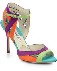 Brian Atwood Iara Suede  Mesh Sandals - Lyst