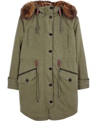 Parka London Freja Green Fur Lined Hood Parka - Lyst