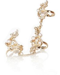River Island Gold Tone Pearl Encrusted Chain Ring - Lyst