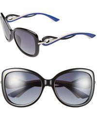 Dior Women'S 'Twisting' Oversized 58Mm Sunglasses - Black/ Blue - Lyst