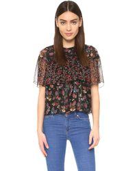 Anna Sui | Dreamy Floral Print Top - Black Multi | Lyst