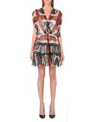Jean Paul Gaultier Union Jack Floral Print Silk Chiffon Dress Multi - Lyst