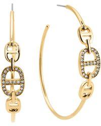 Michael Kors Pavé Maritime Link Hoop Earrings gold - Lyst