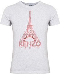 KENZO - Eiffel Tower Grey Printed Cotton Tshirt - Lyst