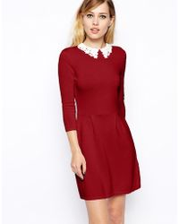 Asos Knitted Skater Dress with Lace Collar - Lyst