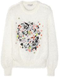 Erdem Bayley Embroidered Knitted Sweater - Lyst
