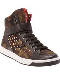 Prada Linea Rossa Studded Camo High-Top Sneakers - Lyst
