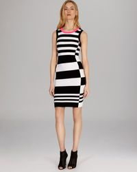 Karen Millen Dress Sleeveless Color Block Knit - Lyst