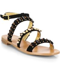 Prada Beaded Suede Sandals black - Lyst