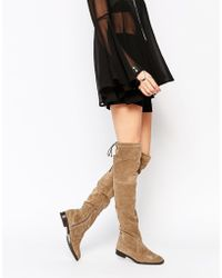 Aldo   Barra Taupe Suede Flat Over The Knee Boots   Lyst