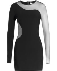 Mugler Crepe Dress With Mesh Inserts - Lyst