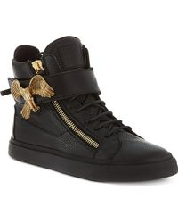 Giuseppe Zanotti Eaglebuckle Leather Hightop Trainers Black - Lyst