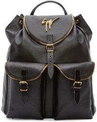 Giuseppe Zanotti Black Zip Detail Backpack black - Lyst