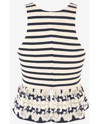 Thakoon - Floral Crochet Hem Striped Tank - Lyst