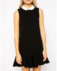 Asos Dress with Peplum Hem and Contrast Collar - Lyst