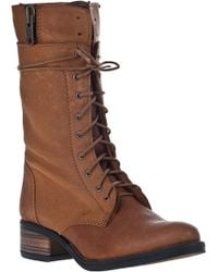 Steve Madden Battell Lace-Up Boot Cognac Leather brown - Lyst