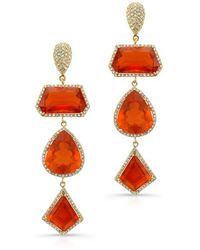 Anne Sisteron 18Kt Yellow Gold Fire Opal Diamond Triple Drop Earrings - Lyst