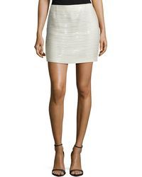 J. Mendel Horizontal-Striped Patent Leather Miniskirt - Lyst