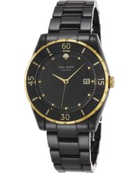 Kate Spade Seaport Grand Black Mother-Of-Pearl, Goldtone Stainless Steel & Ceramic Bracelet Watch - Lyst
