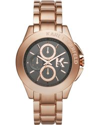 Karl Lagerfeld Unisex Chronograph Karl Energy Rose Goldtone Stainless Steel Bracelet Watch 44mm - Lyst