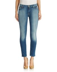 7 For All Mankind Ankle Length Skinny Jeans - Lyst