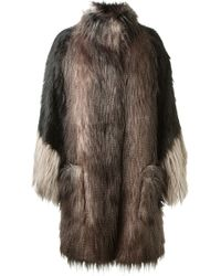 Lanvin Long Black and Grey Faux Fur Coat - Lyst