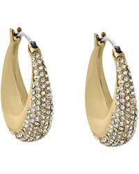 Michael Kors Pavé Gold-Tone Hoop Earrings - Lyst