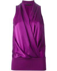 Plein Sud Draped Silk Wrap Top - Lyst
