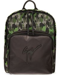 Giuseppe Zanotti Camo Print Leather Backpack Green - Lyst