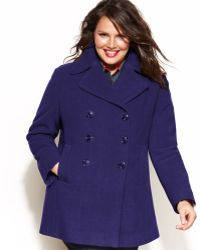 Kenneth Cole Reaction Plus Size Double-Breasted Wool-Blend Pea Coat - Lyst