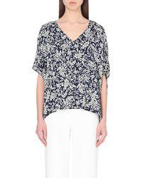 Diane von Furstenberg Adria Floral-Print Stretch-Silk Top - Lyst