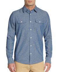 Vince Chambray Cotton  Linen Shirt - Lyst