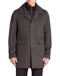 Calvin Klein Layered-look Stretch-wool Coat - Lyst